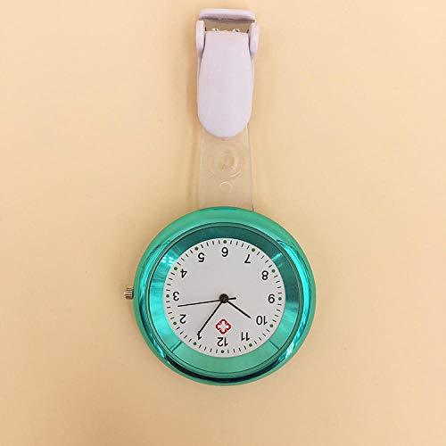 flqwe Silikon Krankenschwester Armbanduhr,Quarzkrankenschwesteruhr, medizinisches Mehrfarbenzeiger-Brustuhr-Blau,Medizinische Taschenuhr der Krankenschwester