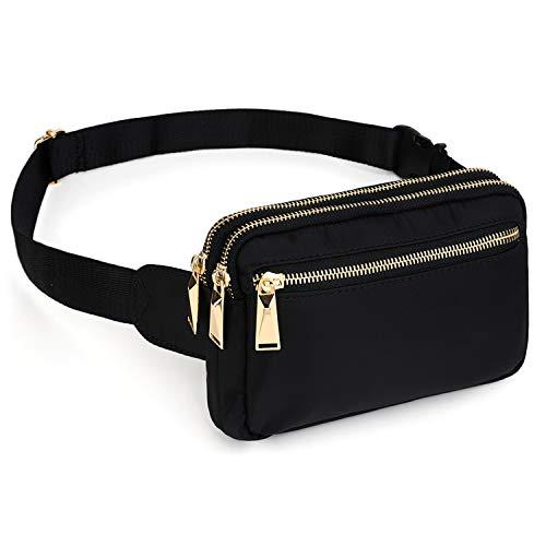UTO Bauchtasche Hüfttasche mit Lange Hüftgurtlängen für Herren und Damen wasserdichte Nylon Mode Schlanke leichte Wasit Pack Tasche mit 3 Reißverschlusstaschen Zapata Black