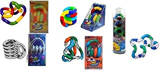 Set of 5 Tangle Jr Fidget Toys: Original Metallic Textured Fuzzy Relax