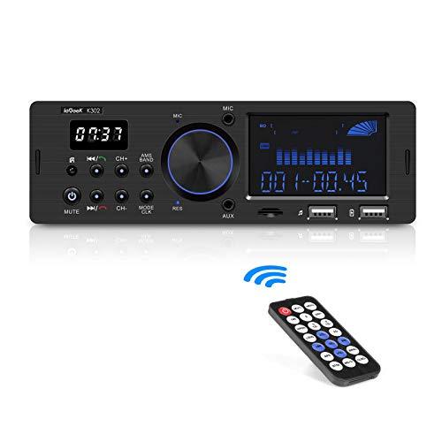 Autoradio Bluetooth Vivavoce RDS 1DIN, ieGeek Radio Stereo 60WX4 Supporta FM AM USB AUX WMA WAV FLAC MP3 SD, Doppio Display LCD con Orologio, Capacità per 30 Stazioni Radio, con Telecomando