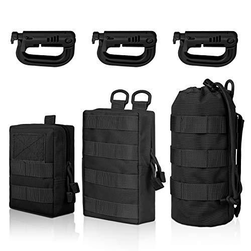 EEEKit 3 Pack Molle Tasche Kompakte Tactical Molle Pouche EDC Utility Bauchtasche Hüfttasche mit 3 Haken für Outdoor Wandern Jagdcamping Training