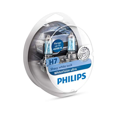 Philips 12972WVUSM WhiteVision - bombilla para faros delanteros de coches - Bombilla para coches (H7, 55 W, Halógeno, Luces...