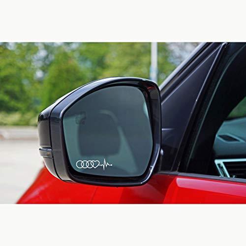 Autodomy Kompatibel mit Audi Reifen Herz Cardio Aufkleber Paket 6 Stück aus saurem Vinyl für Autospiegel