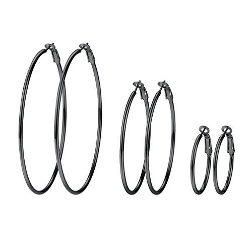 PROSTEEL 3er Ohrringe Set für Damen Edelstahl Creolen Huggie Kreolen Ohrringe Hoop Klappcreolen Ohrschmuck 30mm 50mm 70mm 3 Größe Set, schwarz