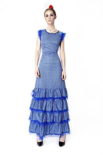 Carnavalife Disfraz de Bailaora de Flamenco, Vestido Largo de Color Azul para Mujer (Azul, XL)