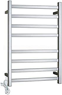 8 Rungs Square Electric Heated Towel Rail Rack Holder Multiple Rods Towel Warmer Stainless Steel Wall Mounted Chrome