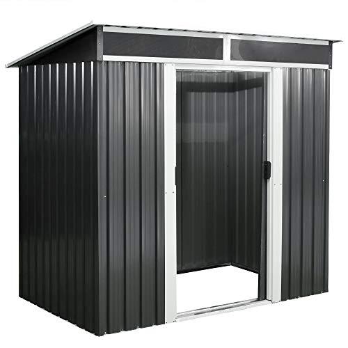 Zelsius Metall Geräteschuppen mit Boden I (B) 238 x (T) 132 x (H) 180 cm I Anthrazit I Gartenhaus mit Oberlichter I Gerätehaus