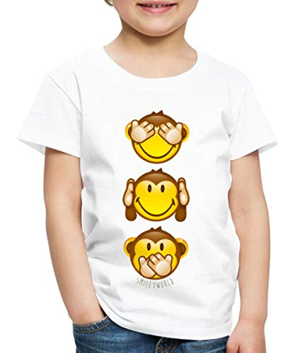 Smiley World DREI Affen Smileys Senkrecht Kinder Premium T-Shirt, 110-116, Weiß