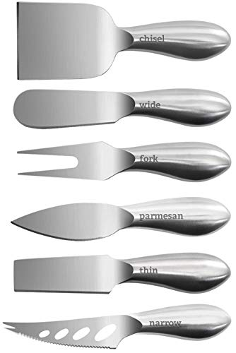 Zelancio Premium Stainless Steel Cheese Tool Set - 6 Piece Box Cheese Knife Set - Cut, Spread, Shave and Serve All Your Favorite Cheeses