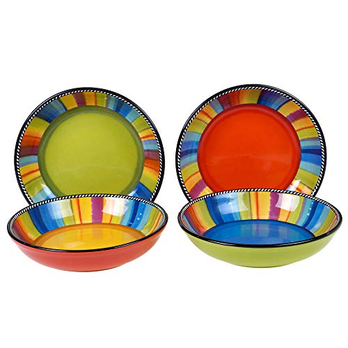 Certified International Sierra 9' Soup/Pasta Bowl, Set of 4 Assorted Designs, Multicolored