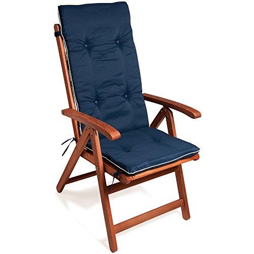 Detex® Stuhlauflage Vanamo 6er Set Wasserabweisend Hochlehner Auflage Sitzauflage Stuhlkissen Polsterauflage Blau