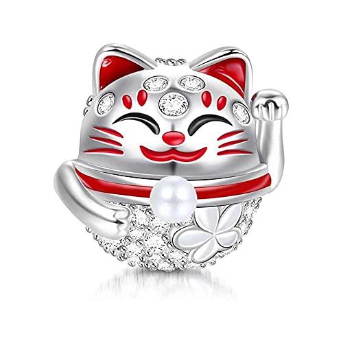 chaosong shop Abalorio de gato de la suerte de plata de ley 925 'Wish You Luck' con circonita...