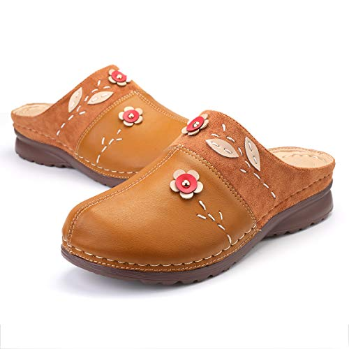 gracosy Clogs Shoes for Women, Summer Leather Slippers Loafers Slip on Comfort Mules Antil Slip Beach Slippers Ladies Flowers Sandals Brown 7
