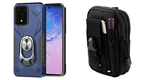 Bemz Samsung Galaxy S20+ Plus, 6.7 inch [Dual Series] Case Bundle: Bottle Opener Stand Magnetic Mount Ready Armor Rugged Cover with 600D Waterproof Nylon Material Tactical Pouch - Navy Blue