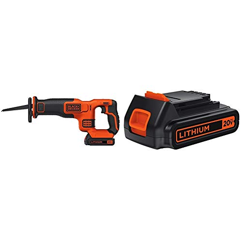 BLACK+DECKER BDCR20C 20V MAX Reciprocating Saw with Battery, Charger and 20-Volt MAX Extended Run Time Lithium-Ion Cordless To