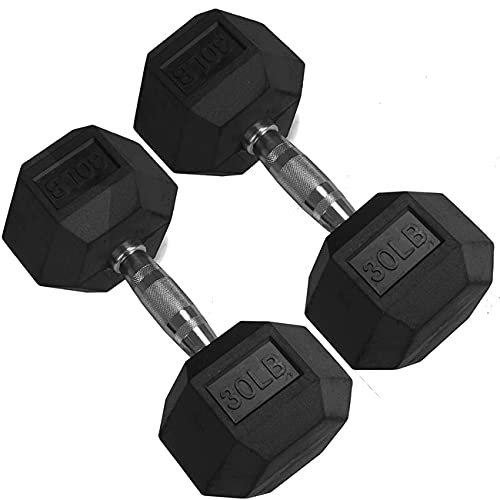 Titan Fitness 30 LB Pair Free Weights, Black Rubber Coated Hex Dumbbell, Ergonomic Cast Iron Handle, Strength Training