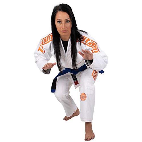 Tatami Fightwear Estilo 6.0 White & Orange BJJ GI, Mujer, Blanco y Naranja, F1