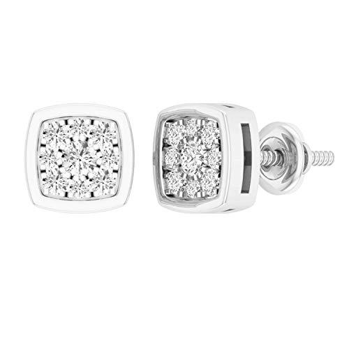 Dazzlingrock Collection - Pendientes redondos de diamantes blancos de 0,35 quilates (0,35 quilates, 1/3 quilates, disponible en oro de 10 K/14 K/18 K y plata de ley 925