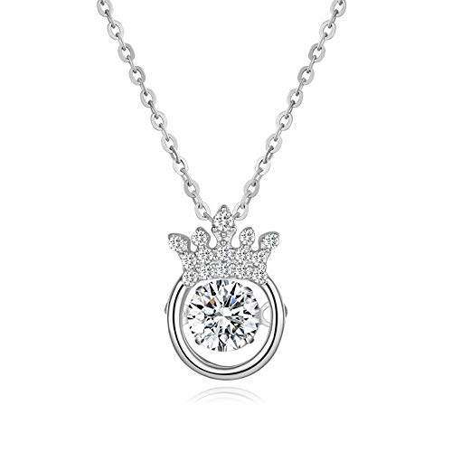 Colgante, anillo, collar de cadena de joyería de plata, corona de plata péndulo comprensión corazón palpitante corazón,Oro blanco,925