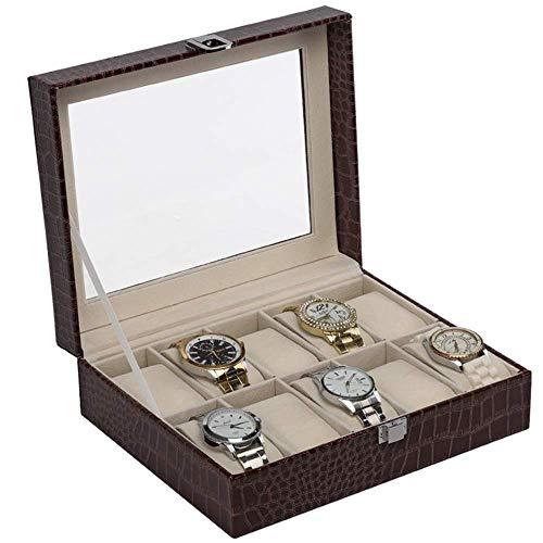 Kijken opbergdoos 10 Slot PU Leather Watch Box met glazen display for uw vriend en familie (Kleur: Zwart, Maat: 25,5 * 20,5 * 8cm) LOLDF1 (Color : Brown, Size : 25.5 * 20.5 * 8cm)