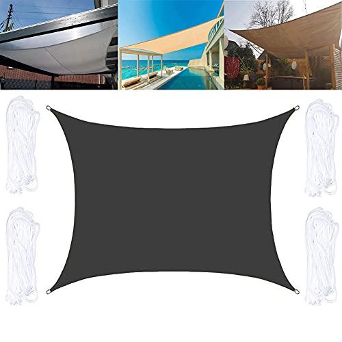 QINZC Toldo Vela Parasol Rectangular 2x2.5m Toldo Vela De Sombra ProteccióN Rayos UV Transpirable Toldo De Vela Solar para Patio Exteriores JardíN,Negro