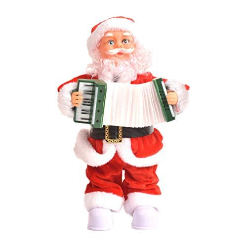 Amosfun Singender Weihnachtsmann Figur Puppe Xmas Dekofigur Elektrischer Nikolaus mit Musik Tanzender Nikolaus Bewegung Weihnachten Santa Claus mit Akkordeon Weihnachtsdeko