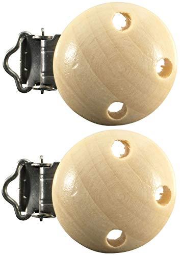 Schnullerclip Farbe Menge Auswahl Holz schadstofffrei Nuckelclip Baby Clip, Farbe:natur, Anzahl:2 Schnullerclips