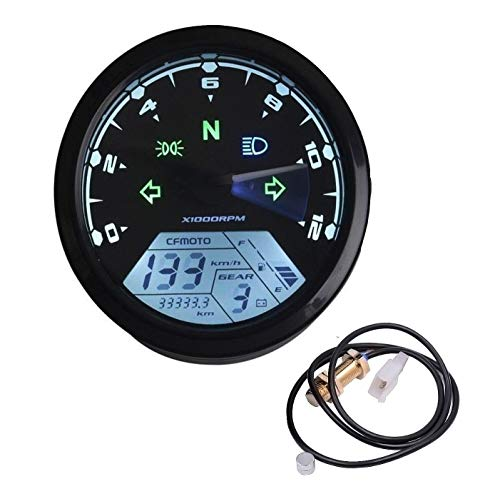 Welugnal 199 KMH MPH 12000 RPM LCD Digital Speedometer Tachometer Odometer kmh for Honda Motorcycle Sctoor Golf Carts ATV