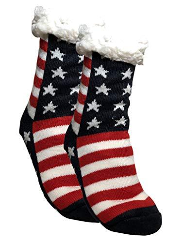 BfL 1 Paar Kuschelsocken, Hausschuhsocken mit Rutschfester ABS Sohle | warme Damen Socken | Wintersocken, Hüttensocken mit Anti Rutsch Noppen und Teddyfell | (39-42, USA Flagge)
