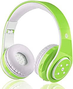 Kids Wireless Bluetooth Headphone with Microphone volume limited foldable Earphone Children Stereo On Ear headset for PC/TV/Tablets/Smartphones (Green)