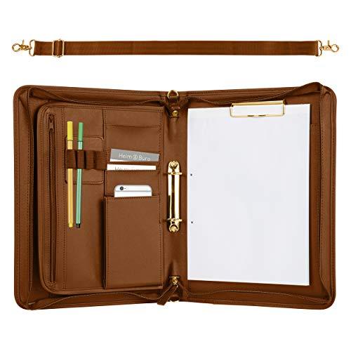 ONVAYA cartella per conferenze A4 | marrone | oro | valigetta | cartella d'affari | custodia per scrivere con pad | similpelle resistente | cartella documenti