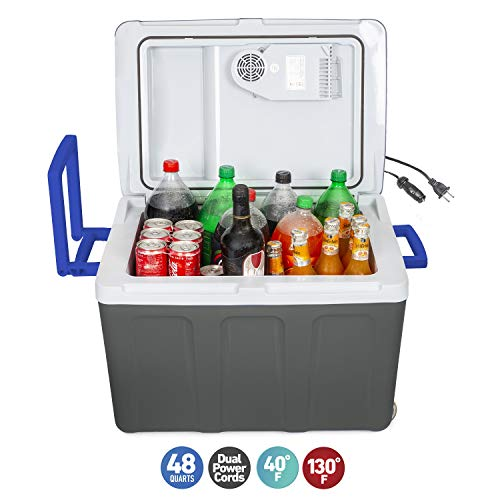 K-box Electric Cooler and Warmer with Wheels for Car and Home - 48 Quart (45 Liter) - 6 FT. EXTRA Long Cables Dual 110V AC House and 12V DC Vehicle Plugs (Grey White Blue)