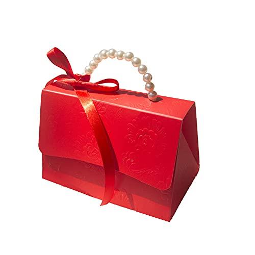 Cajas de regalo portátiles Chocolate Treat Candy Snacks Presenta Bolsa con asa de perla Fiesta Boda Regalo del día de San Valentín Bolsa de transporte