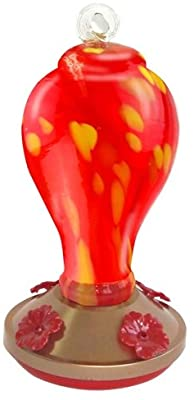 Red Carpet Studios Glass Hummingbird Nectar Feeder, Red with Yellow Spots