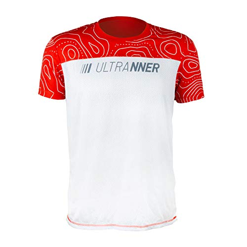 ULTRANNER DUMALA - Camiseta Running Hombre y Mujer Transpirable - Camiseta Técnica de Manga Corta para Trail Trekking Crossfit Padel Gimnasio - Color Blanco y Rojo para Aumentar Visibilidad