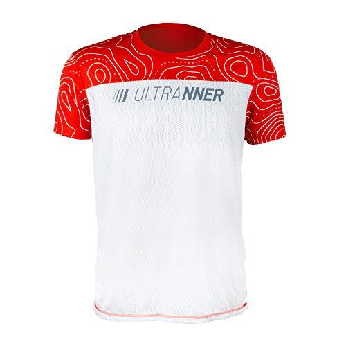 ULTRANNER - DUMALA | Camiseta Técnica Hombre Manga Corta para Deporte - Camiseta Transpirable Ultraligera Apta para Trail Running Trekking Y Más - Color Rojo y Blanco para Mayor Visibilidad Talla S