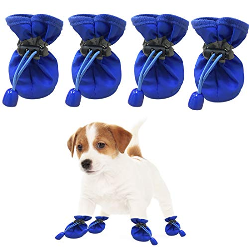 YUESEN Schuhe Hunde Pfotenschutz Hundesocken Wasserdicht Atmungsaktiv rutschfest Reflektierendem Riemen Verstellbares Seil Bequemen, Weichen Stiefel für Schneefang Blau 2-4kg pet(4pcs)
