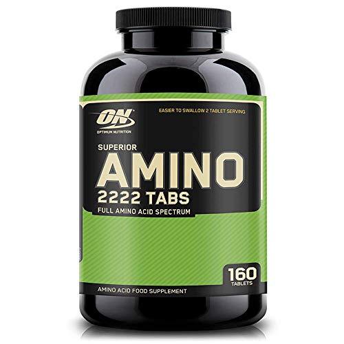 Optimum Nutrition Superior Amino 2222, Aminoácidos Esenciales y Ramificados, BCAA, Sin Sabor, 80 Porciones, 160 Capsulas