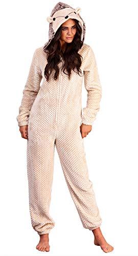 Loungeable Damen Jumpsuit Overall Tiere Gesichter Öhrchen 3D Kapuze Hedgehog Waffle 790043 L