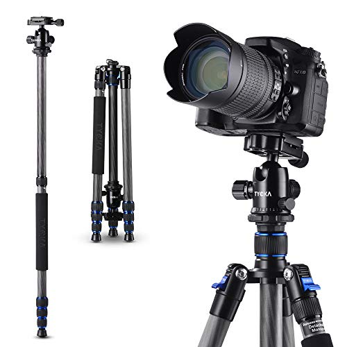 TYCKA Camera Tripod 65' Carbon Fiber Travel Tripod with 360° Panorama Ball Head and Monopod, Lightweight Compact Tripod for Canon Nikon Sony DSLR Cameras, 15kg Load Capacity