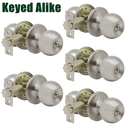 Probrico (5 Pack) Keyed Alike Door Knobs Combo Pack, Satin Nickel Ball Entry Door Knobs Entrance Lockset, Interior Exterior Single Cylinder Door Lock