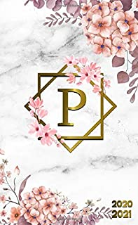 2020-2021: Initial Monogram Letter P Two-Year Monthly Pocket Planner with Phone Book, Password Log & Notebook. Nifty 2 Year Agenda, Organizer and Calendar - Grey Marble & Gold Pink Floral Print