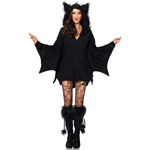 OUJIE Disfraz De Murciélago para Mujer,Decoraciones De Halloween,Sombreros,Juegos De rol,Sexys,Regalos Navideños,Baile De Graduación,Vestido Negro,XXL