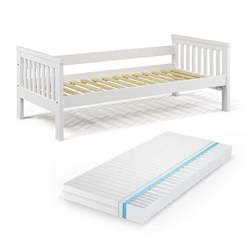 VitaliSpa Tagesbett Luna Kinderbett 90x200cm Kojenbett Jugendbett Bettgestell (Bett + Matratze)
