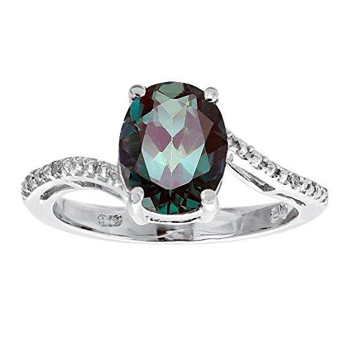 3ct ovalado creado Alejandrita diamante .01quilates anillo de plata de ley 925