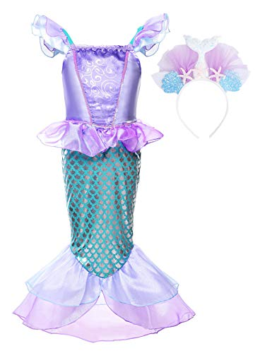 JerrisApparel Niñas Princesa Sirena Vestido Navidad Traje Fiesta Cumpleaños Disfraz (4 años, Lila con Accesorios 2)