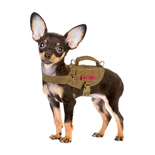 Tactical Dog Harness, Milltary Dog Vest with Durable Vertical Handle for XXS Puppy Dog