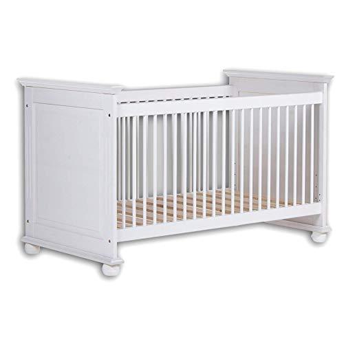 Stella Trading LAURA Sicheres Babybett mit 70 x 140 cm Liegefläche - Schönes Baby Gitterbett für einen geborgenen Schlaf in Kiefer massiv, weiß - 85 x 93 x 154 cm (B/H/T)