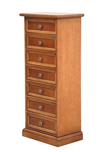 Arteferretto Enge hoche Kommode aus Holz, Holz Farbe Kirschholz patiniert, Bronze Blumen-Beschlag, Einrichtung für Klassische-modern Wohnzimmer/Schlafzimmer/Arbeitszimmer, Maße B53xT34xH118 cm