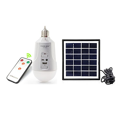ZuKe Portable 2W E27 Solar Powered LED Bulb Light Intelligent Rechargeable Lamp, Included 6V 1.7W Solar panel with 3.5Meters Power Cable, Best Outdoor Camping Lamp